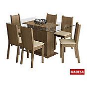 Conjunto de Jantar Molly 77x140x80cm Mesa e 6 Cadeiras MDP e MDF Rustic e Pérola