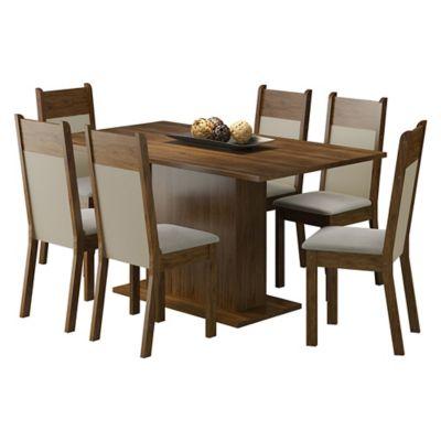 Conjunto de Jantar Louisiana 76x160x90cm Mesa e 6 Cadeiras MDP e MDF Rustic e Pérola
