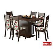 Conjunto de Jantar Louisiana 76x160x90cm Mesa e 6 Cadeiras MDP e MDF Tabaco e Floral Hibiscos