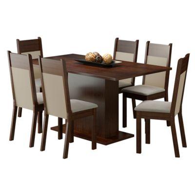 Conjunto de Jantar Louisiana 76x160x90cm Mesa e 6 Cadeiras MDP e MDF Tabaco e Pérola