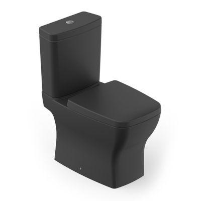 Kit Completo Bacia com Caixa Boss com Assento e Fixação 84x44x41cm Preto Fosco