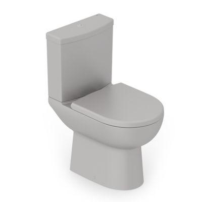 Kit Completo Bacia com Caixa Smart com Assento e Fixação 84x44x41cm Cinza Fosco