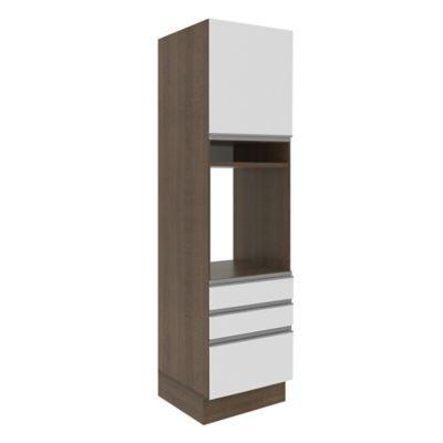 Armário Torre para Forno 1 Porta 3 Gavetas G26655 Glamy 225x60x51cm Rustic e Branco