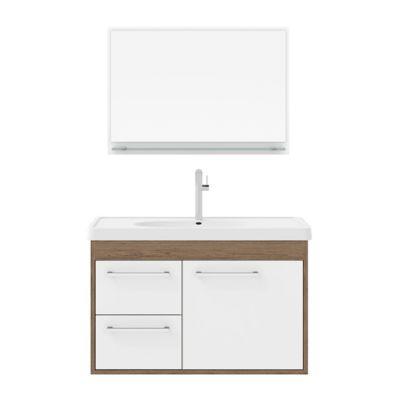 Gabinete para Banheiro com Cuba e Espelheira Casa 60cm Branco Munique