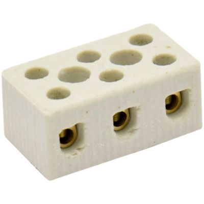 Conector Porcelana Tripolar Para Cabo/Fio 16Mm