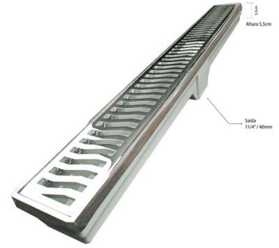 Ralo Linear Leve Grelha Saída Sifonada Por Baixo No Meio Alumínio Cromado 7X90Cm