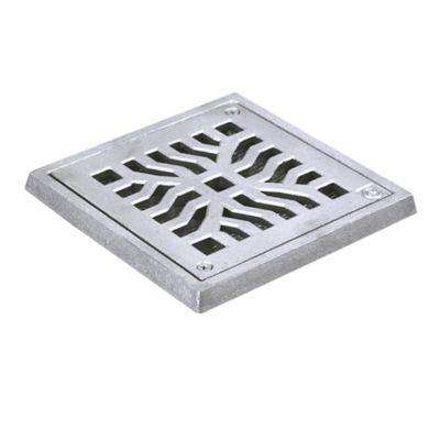 Conjunto Grelha / Porta Grelha Quadrada Reforçada Grelha Telada Alumínio Martelado Cromado Telado 15X15Cm