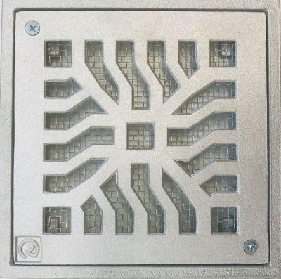 Conjunto Grelha / Porta Grelha Quadrada Reforçada Grelha Telada Alumínio Martelado Cromado Telado 20X20Cm