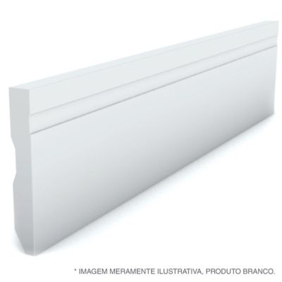 Rodape Frisado Reto Branco 7X240X1,3Cm Poliestireno Ref 593