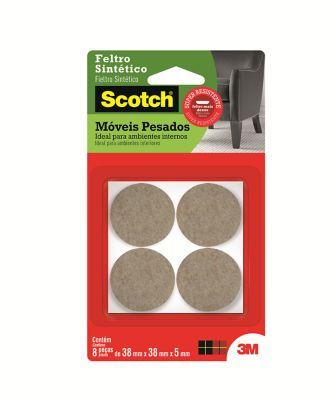 Feltro Sintético para Móveis Pesados 3M Scotch Redondo Marrom Médio - 8 unidades