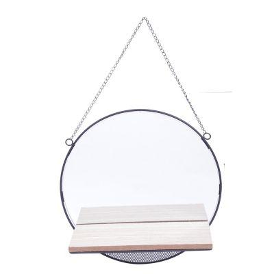 Espelho Emoldurado com Prateleira de Madeira Round Visions Bege 30X30X1,5cm