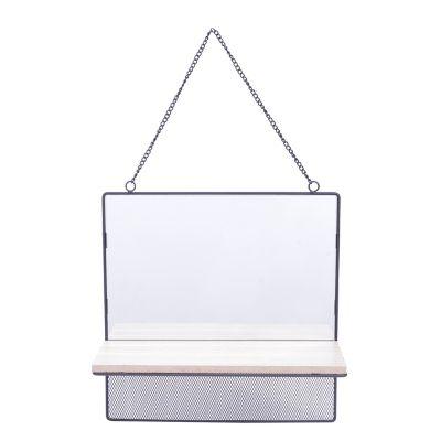 Espelho Emoldurado com Prateleira de Madeira Square Visions Bege 30X30X1,5cm