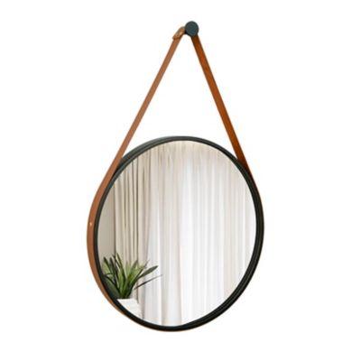 Espelho Adnet Preto Alça Caramelo 40cm