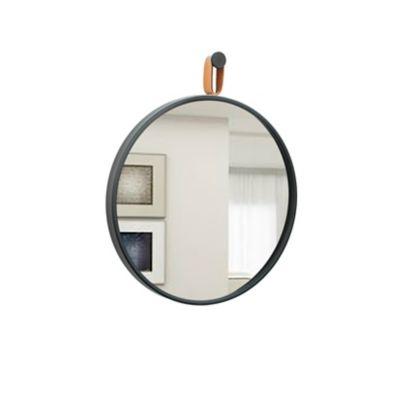 Espelho Round Preto Alça Caramelo 40cm