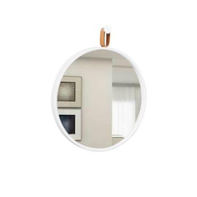 Espelho Round Branco Alça Caramelo 40cm