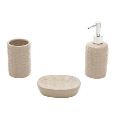 Jogo 3 Peças Banheiro Cerâmica Ond Bege