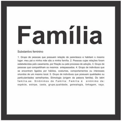 Quadro sem Vidro Familia Preto 27x27cm