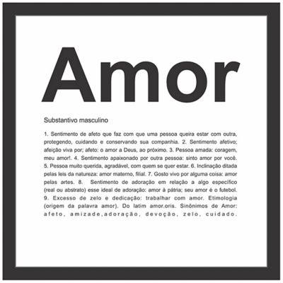 Quadro sem Vidro Amor Preto 27x27cm