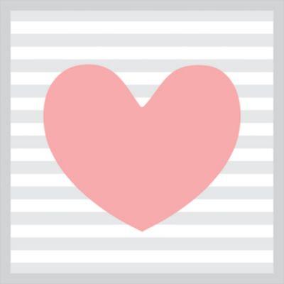 Quadro sem Vidro 27x27cm Coração Rosa