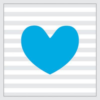 Quadro sem Vidro 27x27cm Coração Azul
