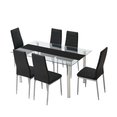 Conjunto de Mesa de Jantar Flash com 7 Peças Prata e Preto Just Home Collection
