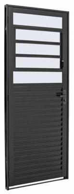 Porta Basculante Aço Preto Direita 217x87x6,5cm Pratika