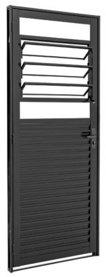 Porta Basculante Aço Preto Esquerda 217x87x6,5cm Pratika