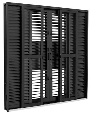 Porta Balcão Multiflex Aço Preto 6 Folhas Central 217x200x16,5cm Pratika