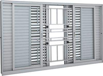 Janela Veneziana Multiflex Alumínio Branco 6 Folhas Com Grade Central 120x150x14cm Aluminium