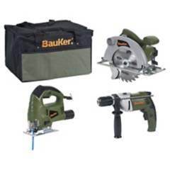 BAUKER - Kit eléctrico taladro + sierra circular + sierra caladora+bolso
