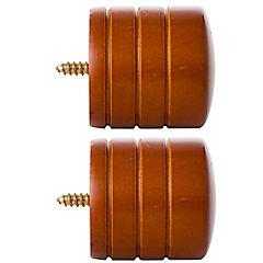 Set de terminales para barra de cortina 28 mm 2 unidades chocolate