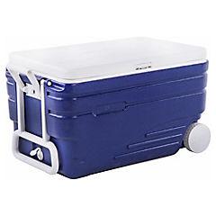 Nevera rígida con asa 2 ruedas 98 litros azul