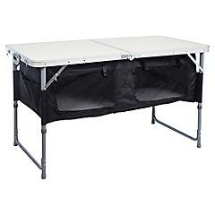 Mesa plegable con alacena 120x60x67 cm tipo maleta metal