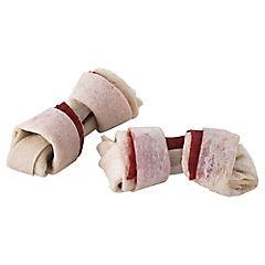 Mini hueso masticable para perro 85 gr con carne y cuero