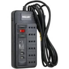 HALUX - Alargador 6 tomas con 2 puertos USB e interruptor On Off 3 m