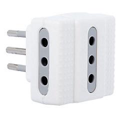 Adaptador triple 2p+t 10 A Blanco