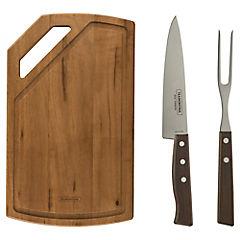Kit de herramientas para asado 2 piezas con tabla