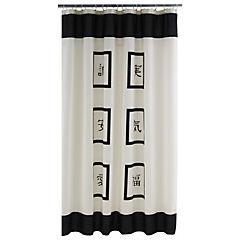 Cortina de baño Signos textil 180x180 cm blanco