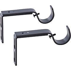 Set de soportes para barra de cortina 28 mm 2 unidades negro