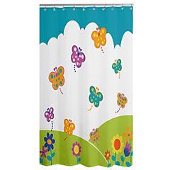 Cortina de baño Mariposas poliéster 180x178 cm