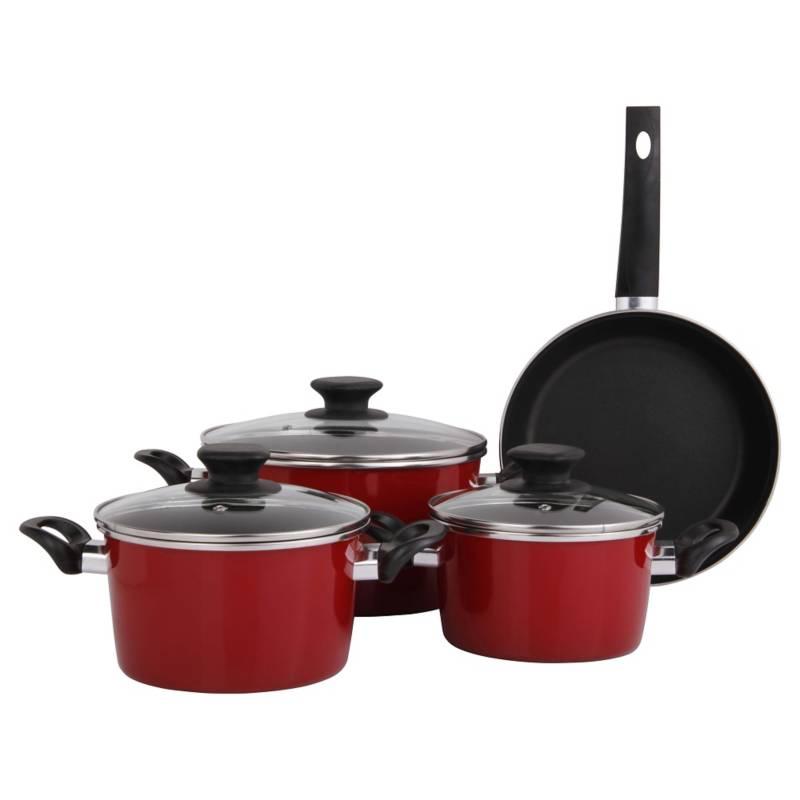 MAGEFESA - Batería de Cocina 7 Piezas Acero Rojo