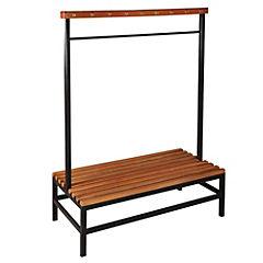 Banca metal-madera doble con perchero 122x50x150 cm