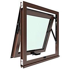Ventana proyectante aluminio premiun termopanel 1 hoja 60x60 cm madera