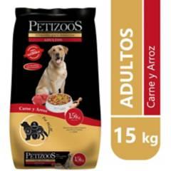 PETIZOOS - Alimento seco para perro adulto 15 kg carne y arroz