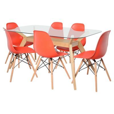 Juego de comedor crystal 6 sillas rojo for Sillas ergonomicas sodimac