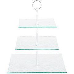 Set de platos con pedestal 3 unidades transparente
