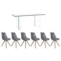 Juego de comedor Vidrio 6 sillas Clara