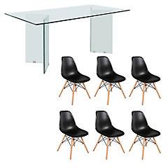 Juego de comedor Vidrio 6 sillas Badem negro