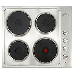 Encimera eléctrica 4 quemadores negro/inox
