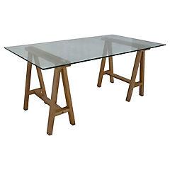 Escritorio madera vidrio 140x70x74 cm